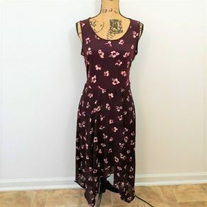 ELLE Burgundy Floral Casual Dress Size M